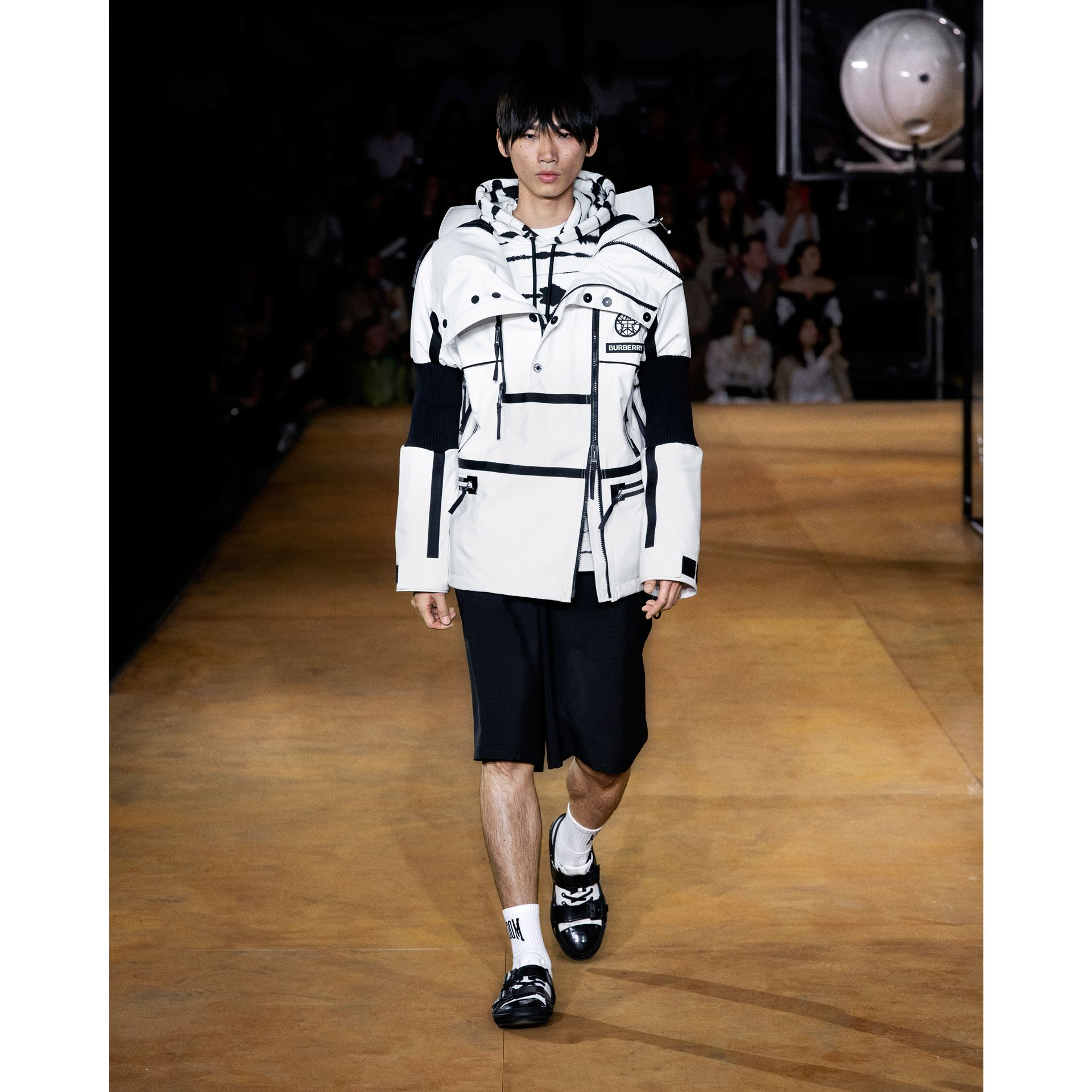 Logo Appliqué Watercolour Print Cotton Hoodie in Monochrome | Burberry Australia - gallery image 7