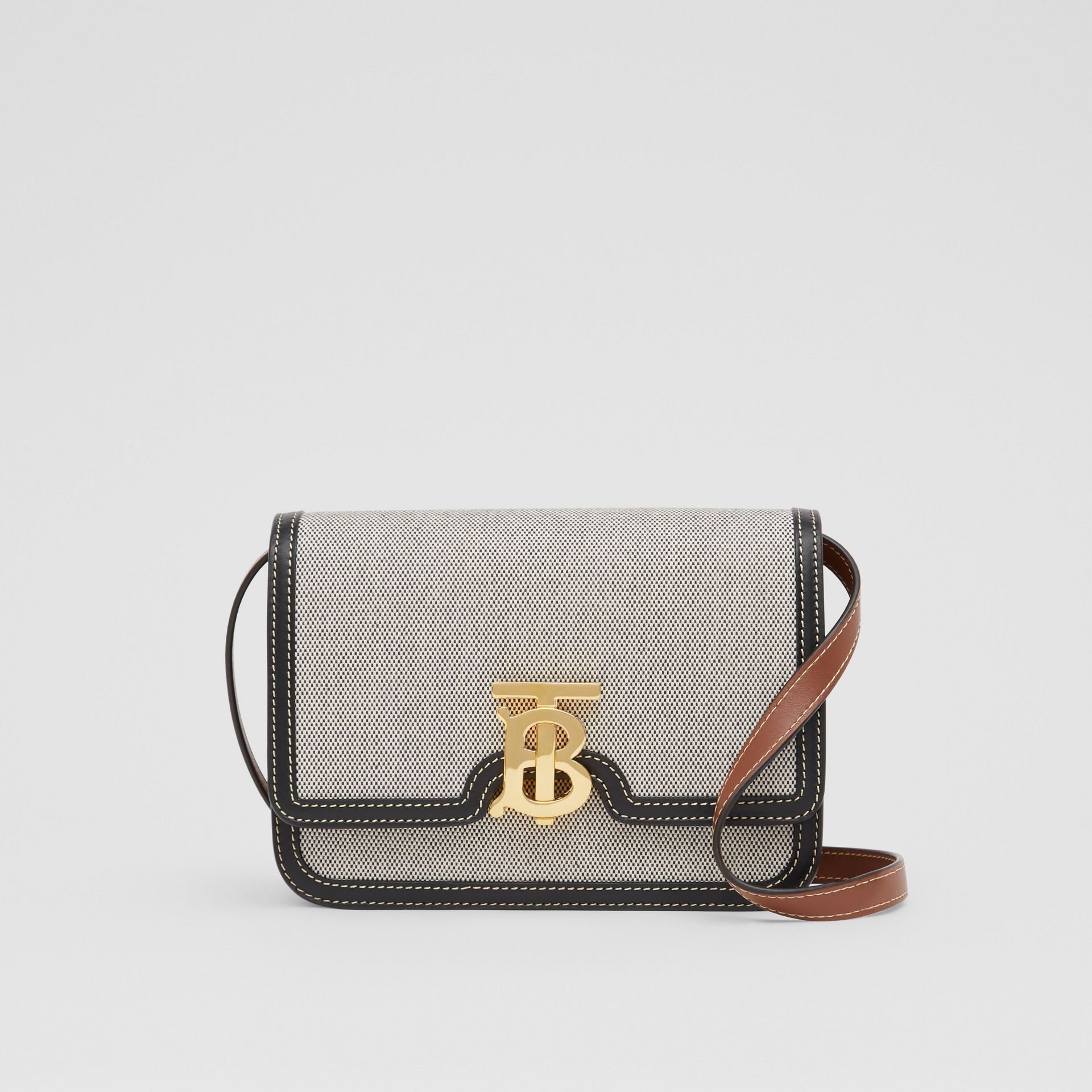 Small Tri-tone Canvas and Leather TB Bag in Black/tan - Women | Burberry United States - gallery image 0