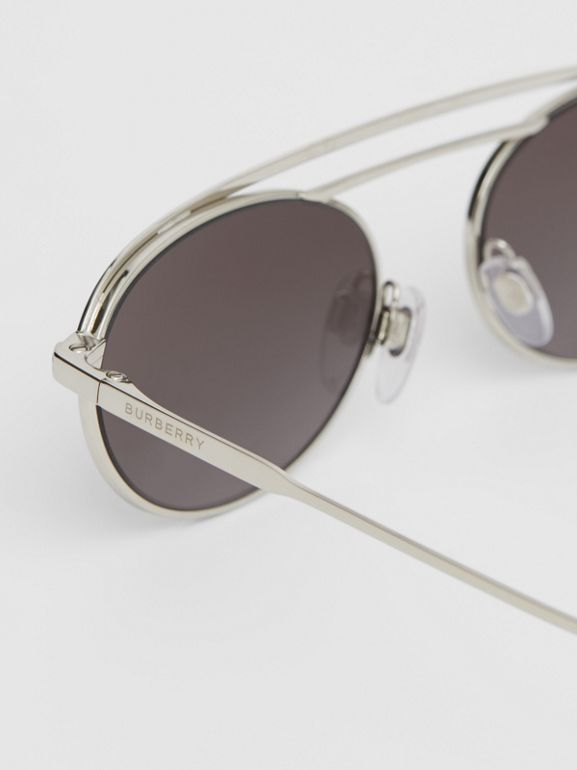 Oval Frame Sunglasses in Grey - Women   Burberry - cell image 1