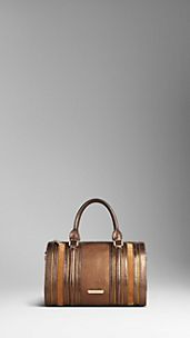 Medium Metallic and Suede Detail Bowling Bag