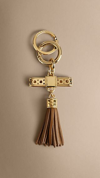 Brogue Detail Nappa Leather Tassel Key Charm