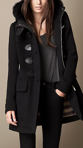 Fur Trim Duffle Coat with Contrast Sleeves