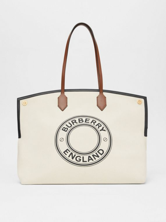 Logo Graphic Cotton Canvas Society Tote in Natural