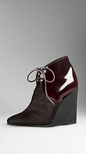 Leather Contrast Wedge Ankle Boots