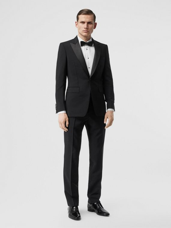 English Fit Mohair Wool Tuxedo in Black