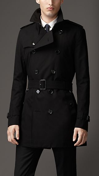 Mid-Length Gabardine Trench Coat with Warmer