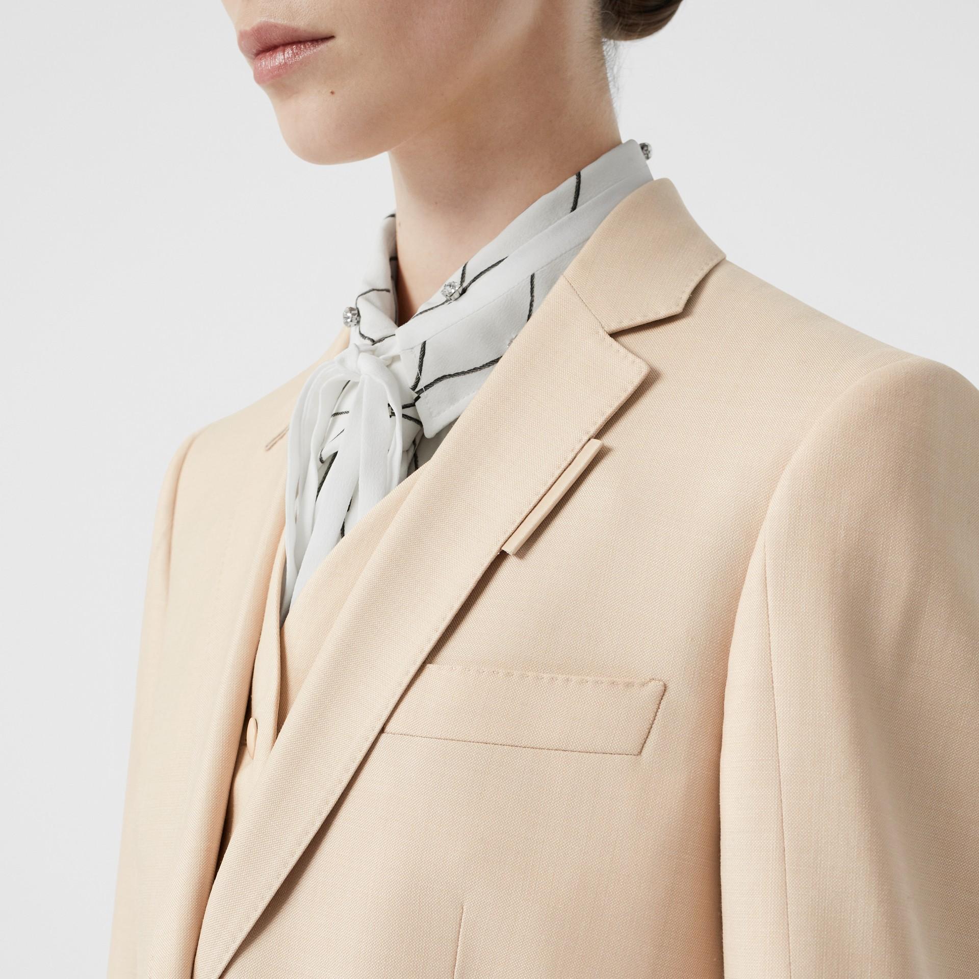 Waistcoat Detail Mohair Silk Blend Blazer in Sesame - Women | Burberry - gallery image 5