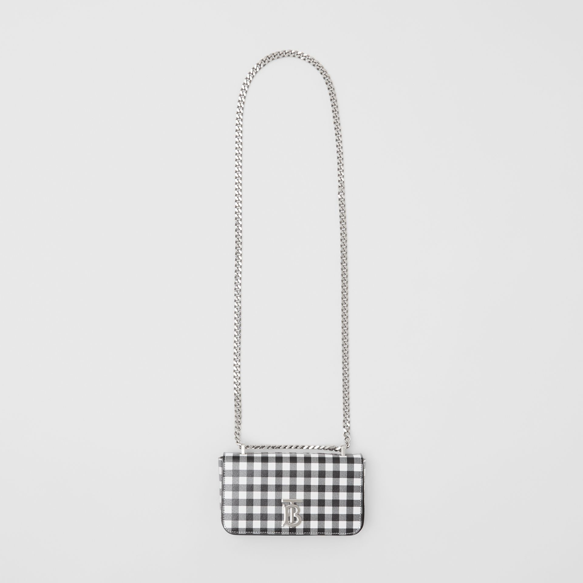 Mini Gingham Leather Lola Bag in Black/white - Women | Burberry - gallery image 3
