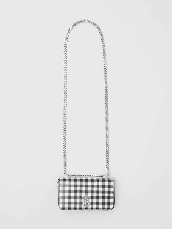 Mini Gingham Leather Lola Bag in Black/white - Women | Burberry - cell image 3