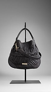 Ruched Python Leather Hobo Bag