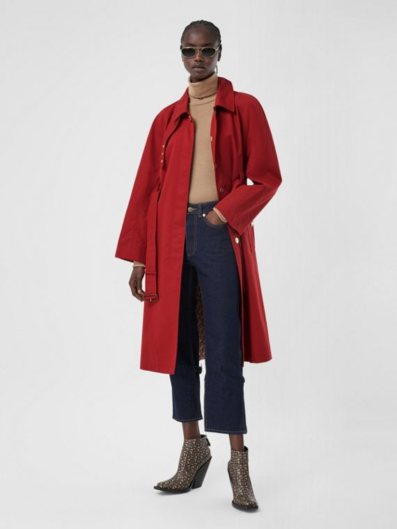 Tropical Gabardine Belted Car Coat in Dark Carmine