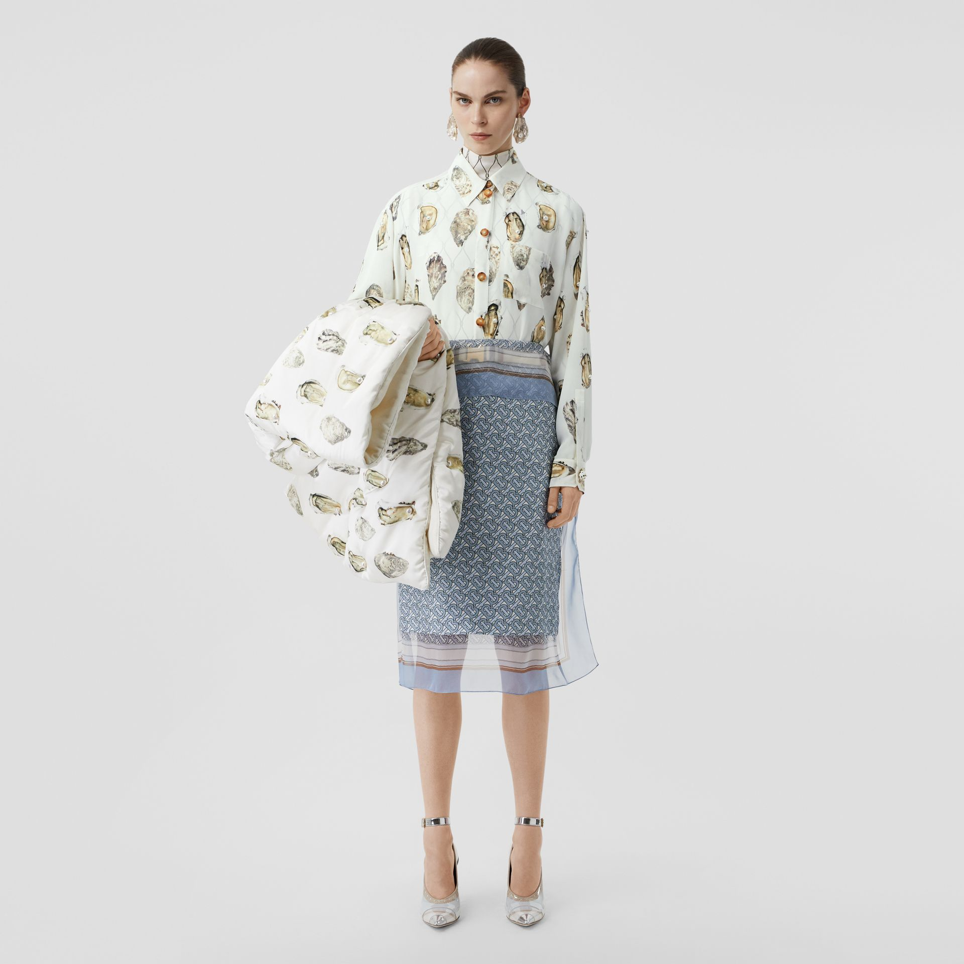 Embellished Oyster Print Silk Oversized Shirt in White - Women | Burberry - gallery image 0