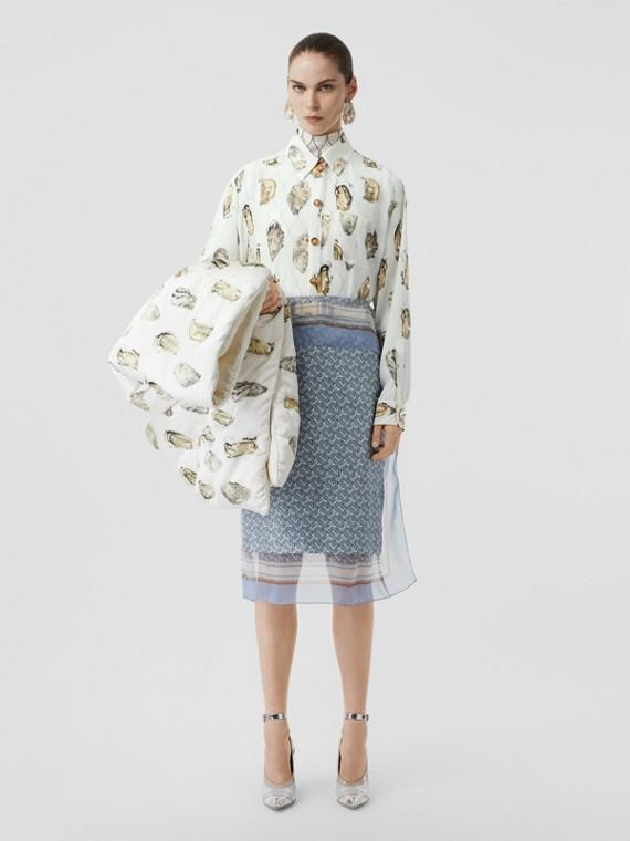 Camicia oversize in seta con stampa ostriche e decorazioni (Bianco)