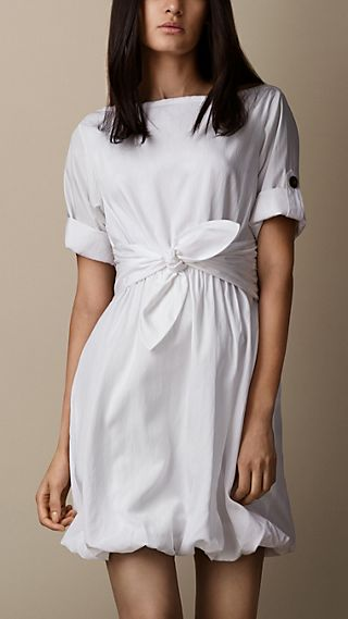 Silk Blend Bubble Hem Dress