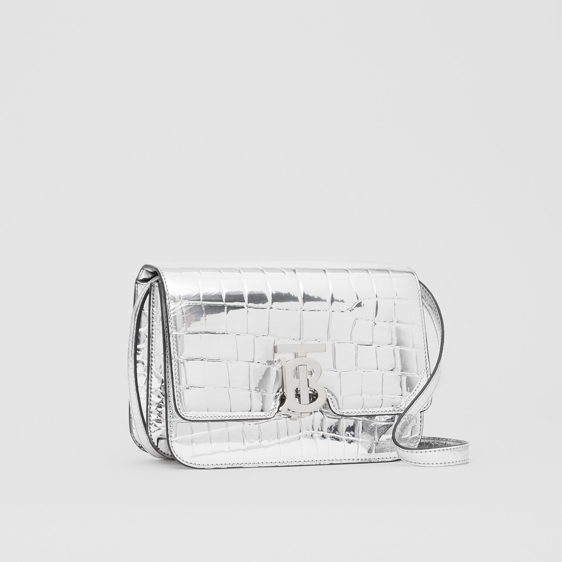 Small Metallic Embossed TB Bag in Silver - Women | Burberry - gallery image 6