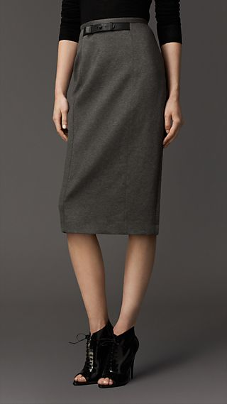 Leather Detail Jersey Pencil Skirt