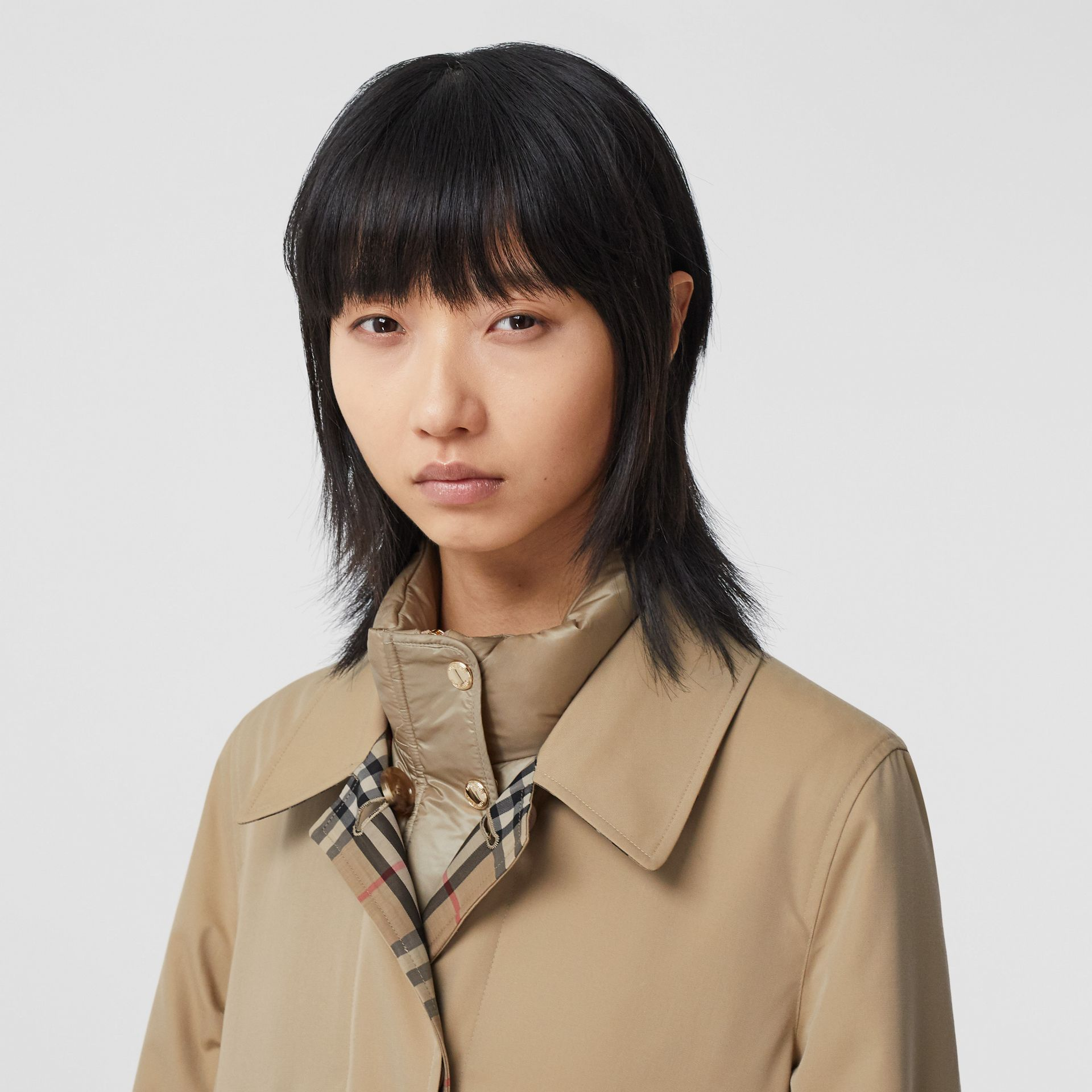 Reversible Cotton and Recycled Polyester Car Coat in Honey - Women | Burberry Australia - gallery image 5