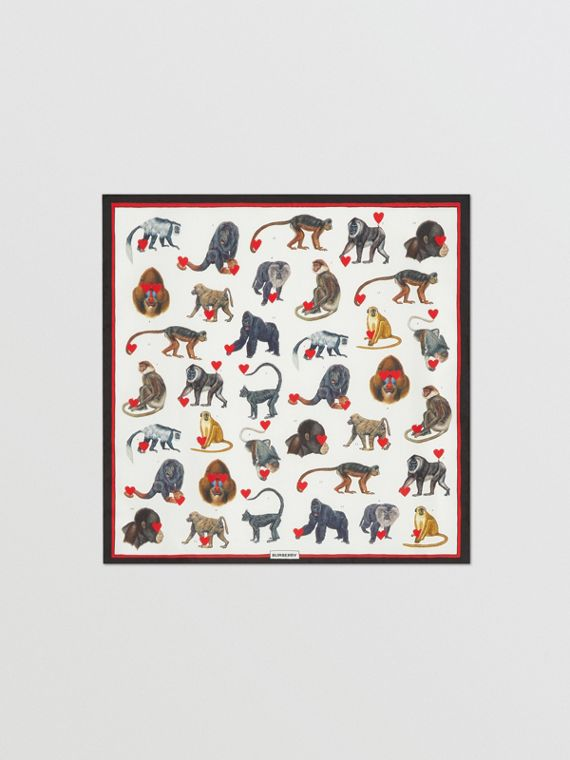 Monkey Print Silk Small Square Scarf in Multicolour