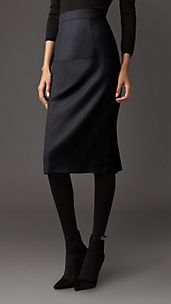 Virgin Wool Kickback Pencil Skirt