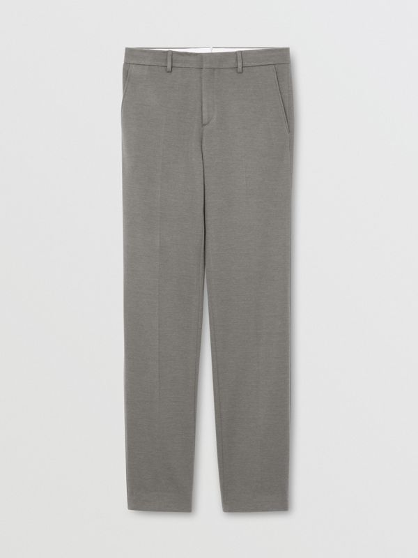 English Fit Cashmere Silk Jersey Tailored Trousers in Cloud Grey | Burberry - cell image 3