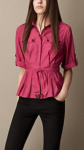 Peplum Detail Military Shirt