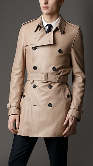 Mid-Length Matte Lambskin Trench Coat