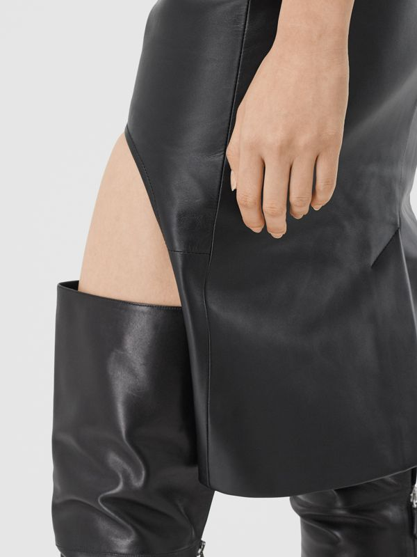 Leather Step-through Pencil Skirt in Black | Burberry United Kingdom - cell image 3