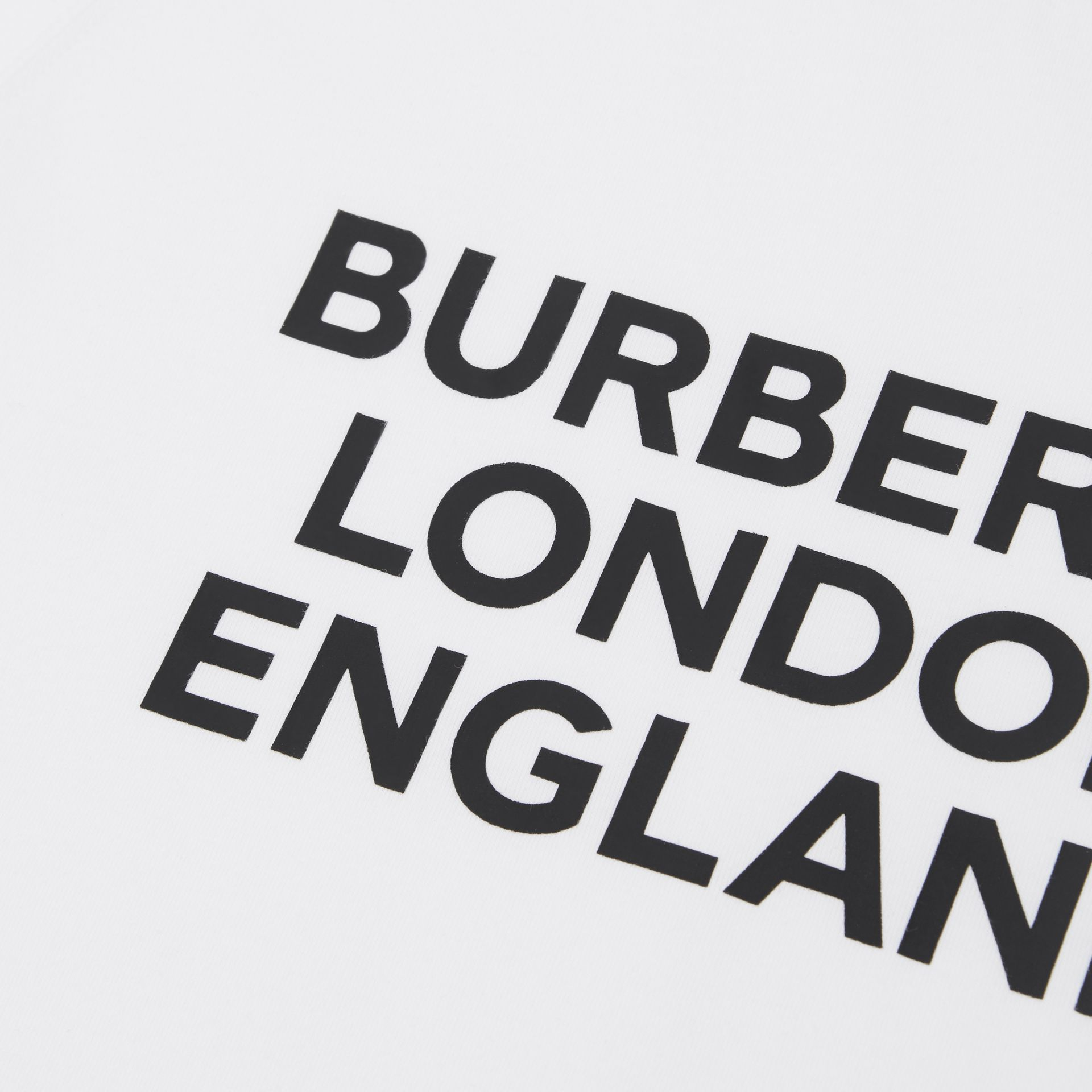 Long-sleeve Logo Print Cotton Top in White | Burberry United Kingdom - gallery image 1
