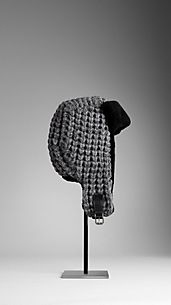 Knitted Shearling Trapper Hat