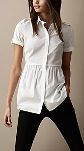 Mesh Panel Gathered Detail Shirt