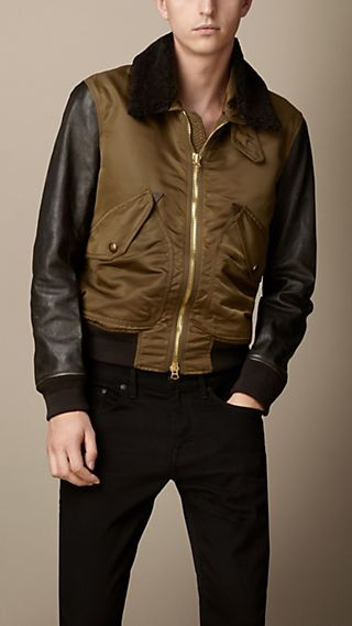 Contrast Sleeve Flight Jacket