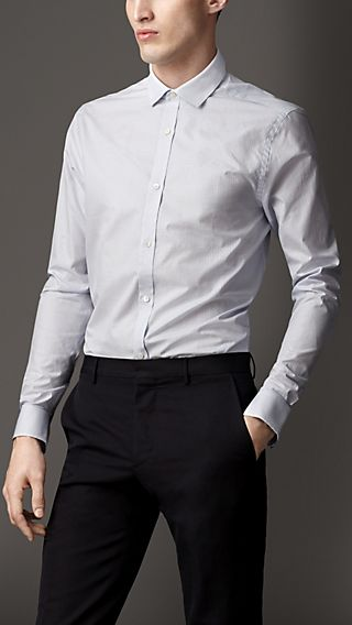 Modern Fit Microcheck Cotton Shirt