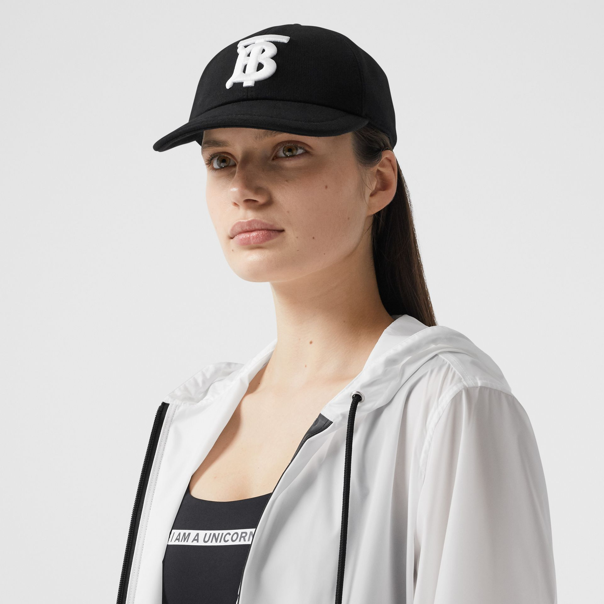 Monogram Motif Cotton Jersey Baseball Cap in Black | Burberry - gallery image 2