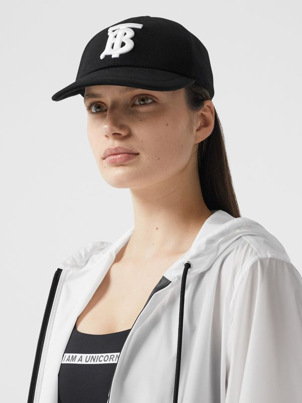 Monogram Motif Cotton Jersey Baseball Cap in Black | Burberry - cell image 2