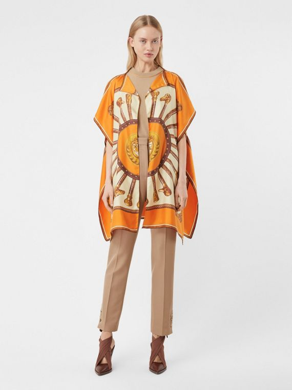 Archive Scarf Print Silk Twill Cape in Bright Orange