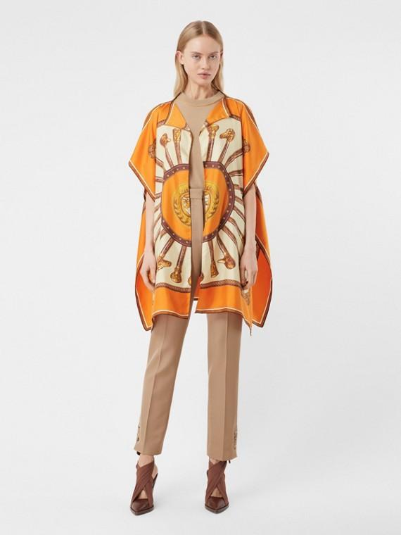 Cape en sergé de soie à imprimé écharpes d'archive (Orange Vif)