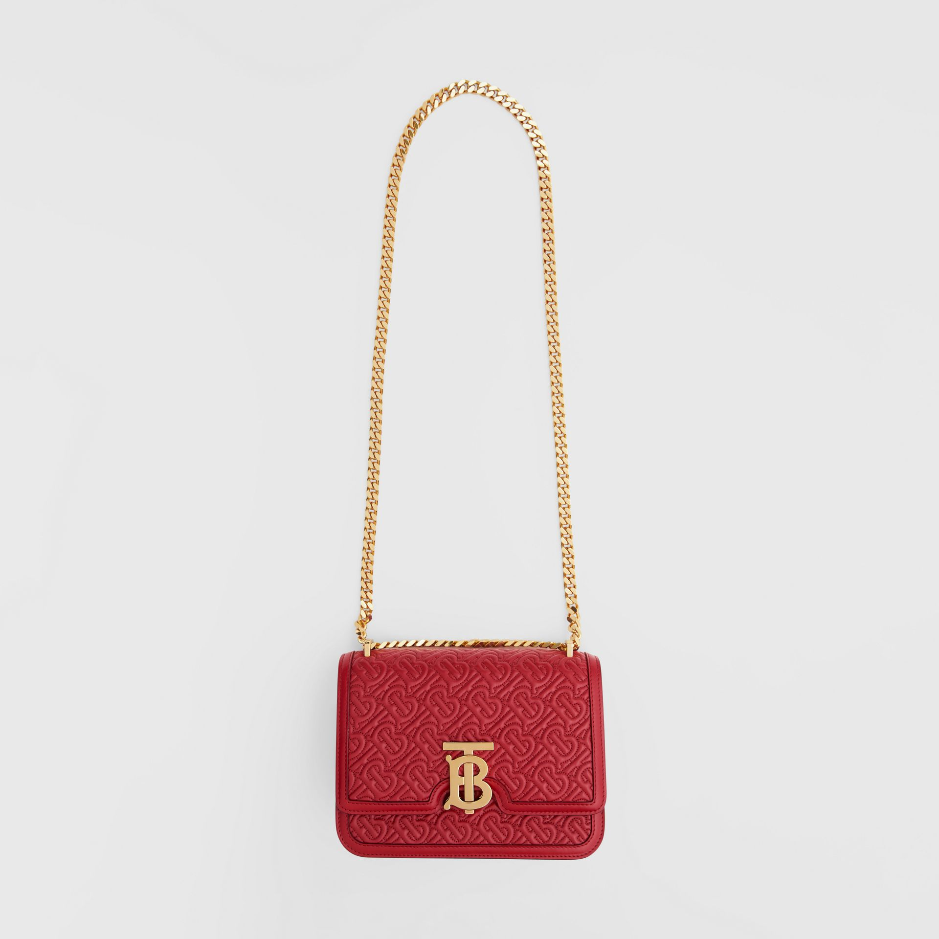 Small Quilted Monogram Lambskin TB Bag in Dark Carmine - Women | Burberry - gallery image 3