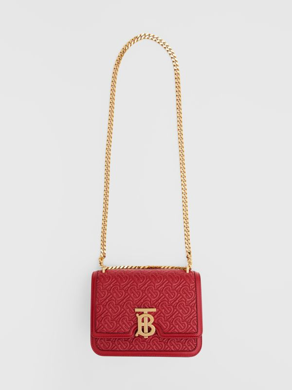 Small Quilted Monogram Lambskin TB Bag in Dark Carmine - Women | Burberry - cell image 3