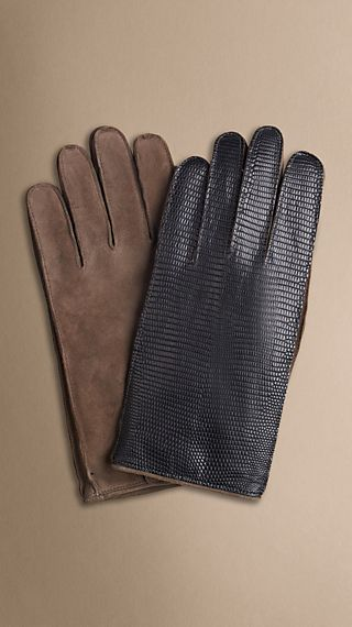 Cashmere-Lined Lizard Detail Gloves