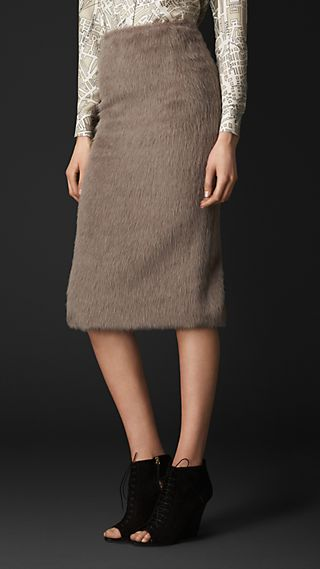 Brushed Wool Blend Pencil Skirt