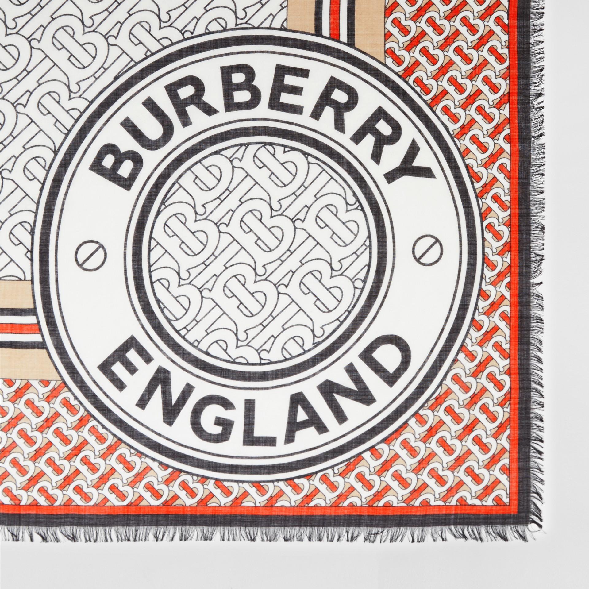 Monogram Print Wool Silk Large Square Scarf | Burberry United Kingdom - gallery image 1