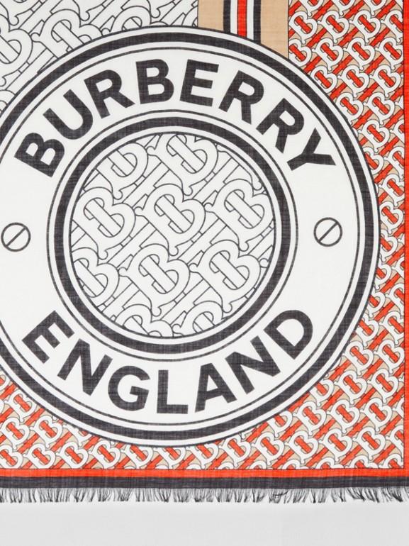 Monogram Print Wool Silk Large Square Scarf | Burberry United Kingdom - cell image 1