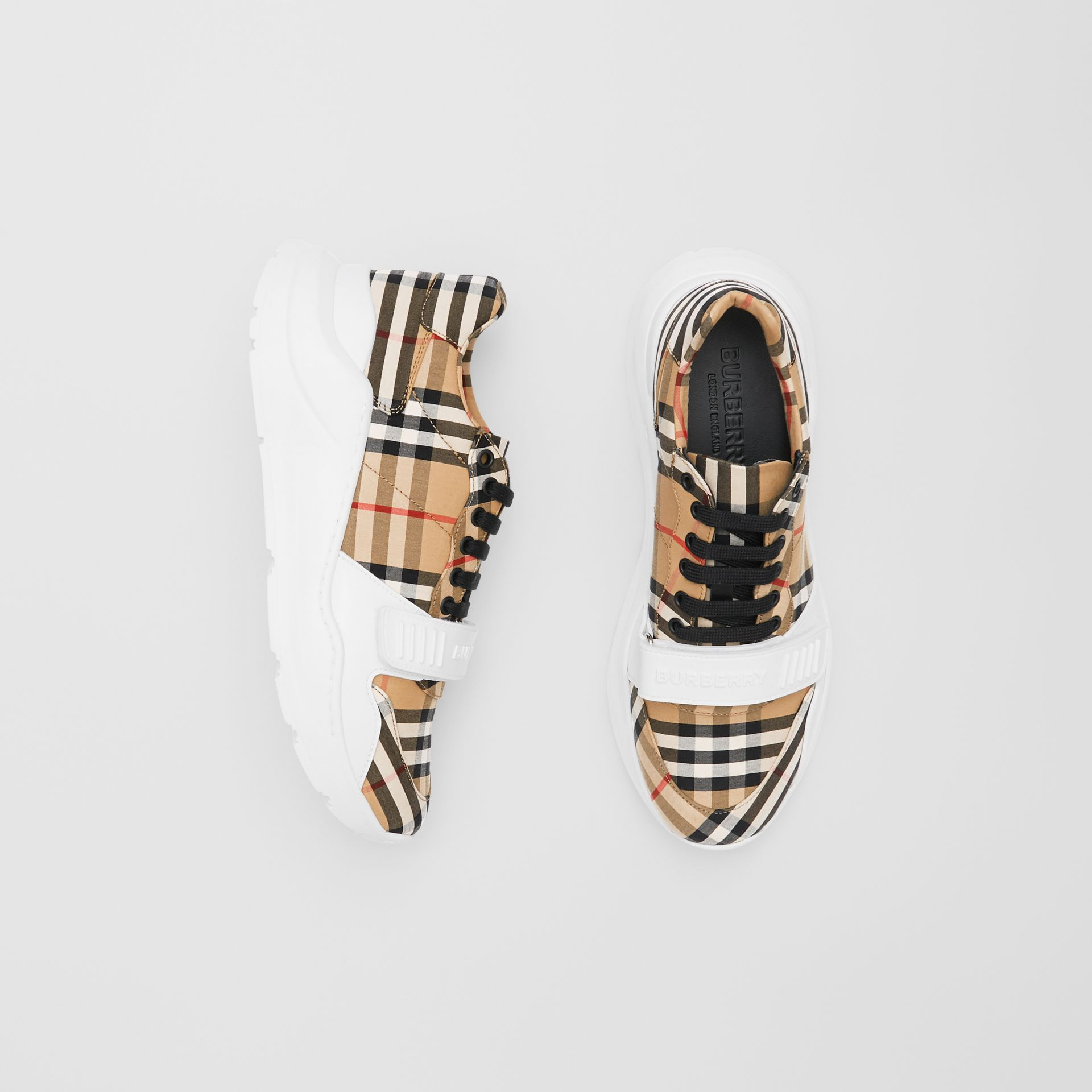 Vintage Check Cotton Sneakers in Archive Beige - Men | Burberry - gallery image 0