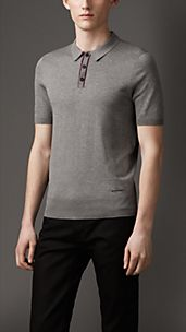 Contrast Placket Fine Knit Cotton Polo Shirt