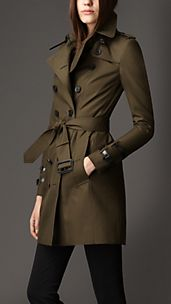 Trench-coat mi-long en gabardine et touches de cuir