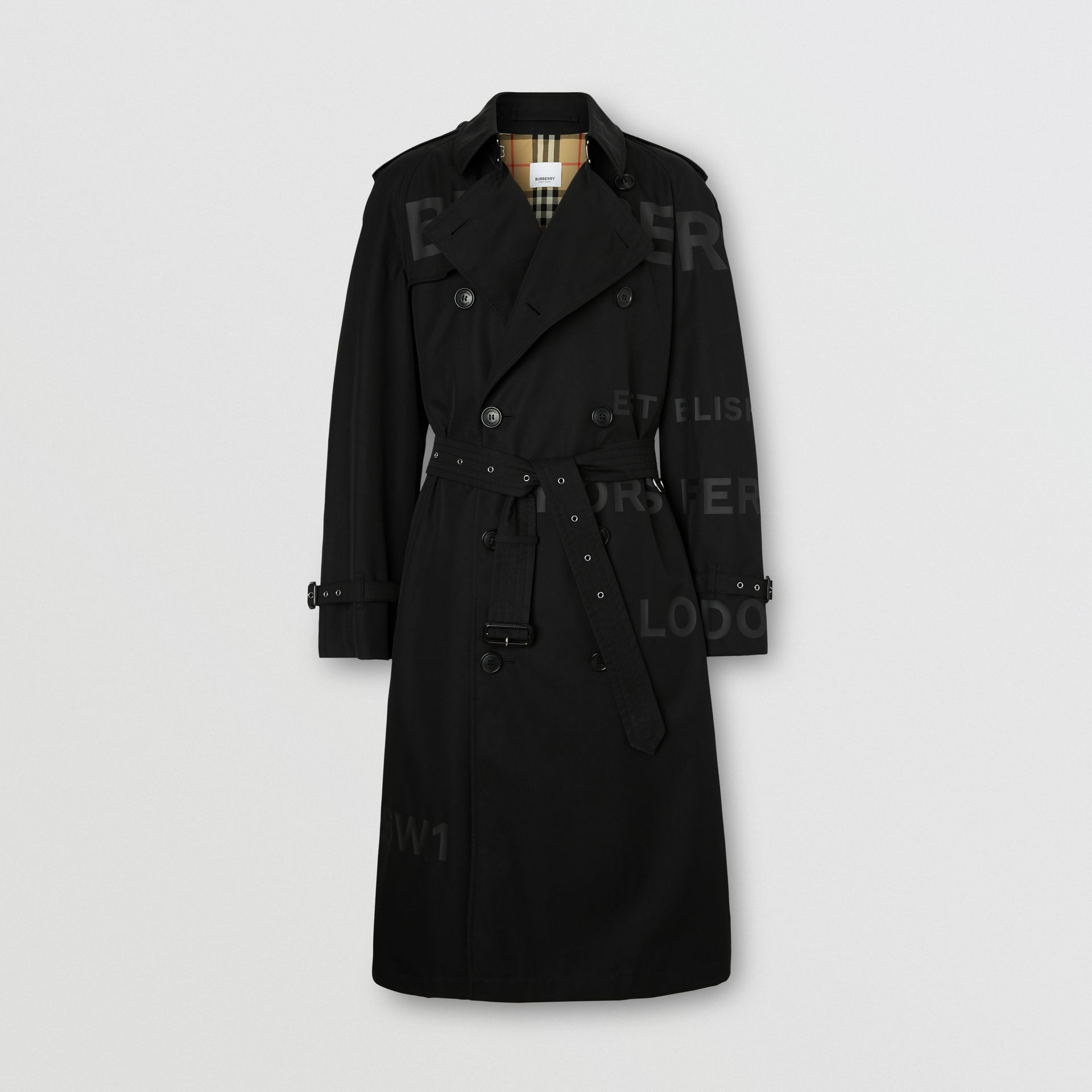 Horseferry Print Cotton Gabardine Trench Coat in Black - Men | Burberry - gallery image 3