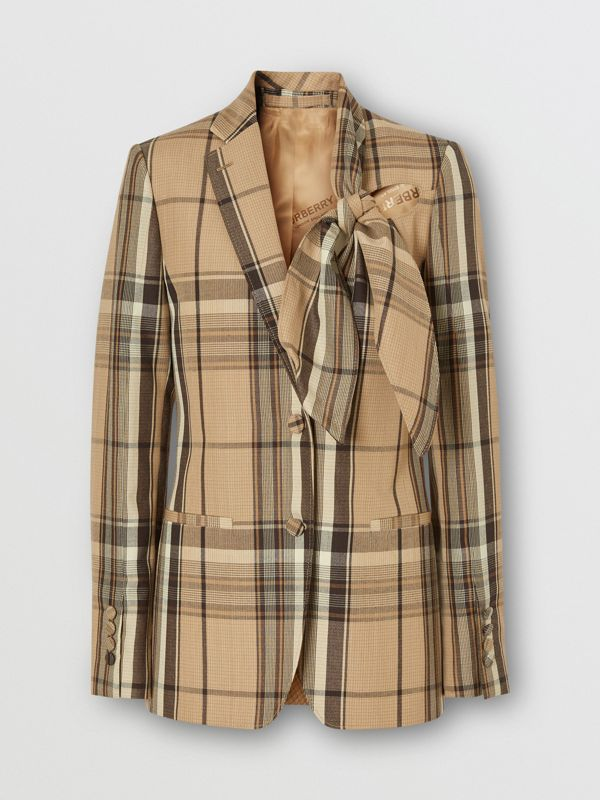 Knot Detail Check Wool Tailored Jacket - Women   Burberry United Kingdom - cell image 3