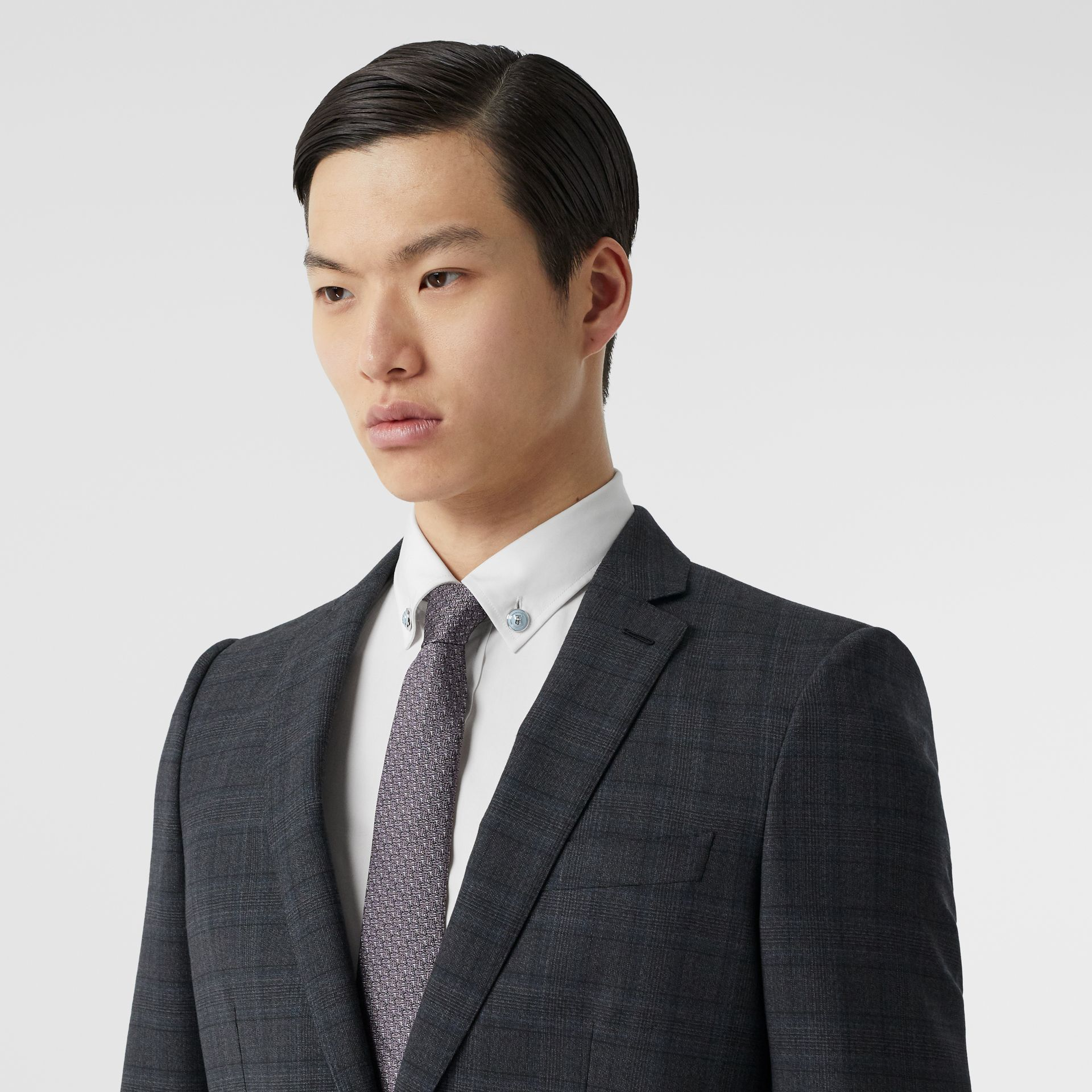 English Fit Check Wool Suit in Steel Blue | Burberry - gallery image 1