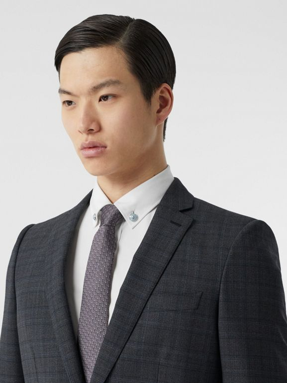 English Fit Check Wool Suit in Steel Blue | Burberry - cell image 1