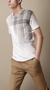 Faded Check Print T-Shirt